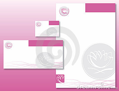 Corporate Identity Set - Lotus Flower Pink/Gray