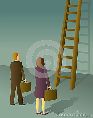 Free Corporate Ladder Man And Woman Stock Photo - 29694390