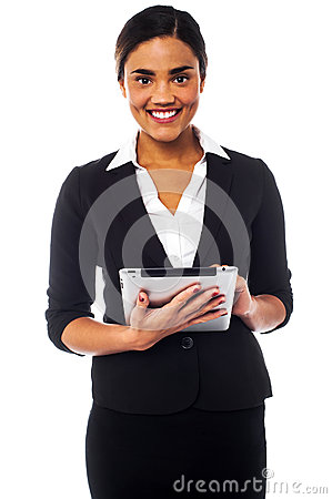 Corporate lady working on tablet device