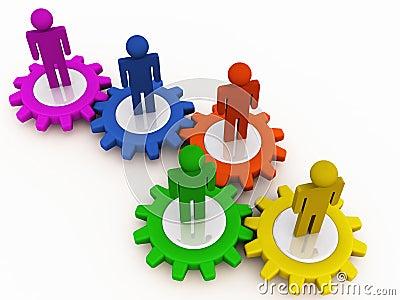 Corporate machinery teamwork