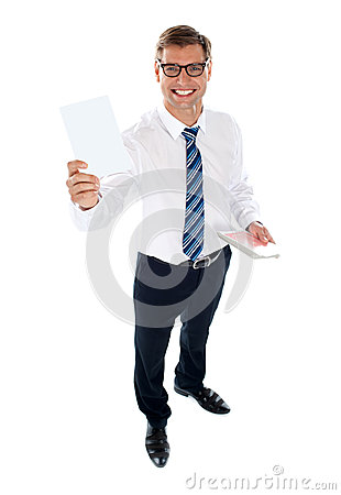 Corporate male showing blank playing card
