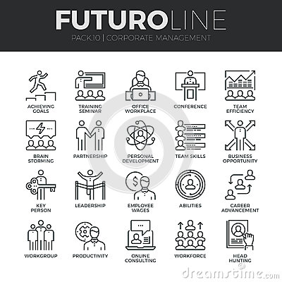 Free Corporate Management Futuro Line Icons Set Stock Photography - 62806552