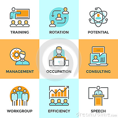 Free Corporate Management Line Icons Set Royalty Free Stock Image - 56880936