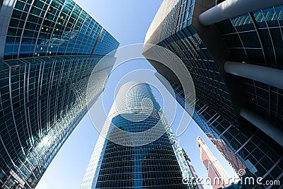 Corporate office skyscrapers perspective
