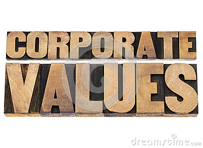 Corporate values in wood type