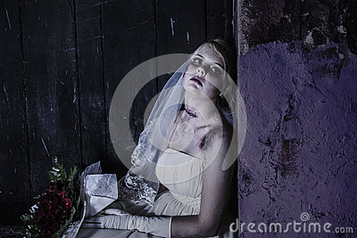Corpse Bride with grunge wall
