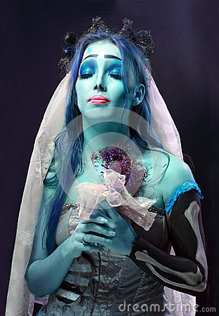 Corpse bride under blue moon light