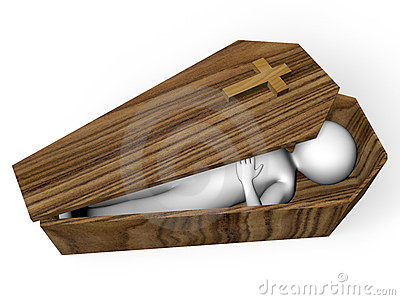 Corpse in a coffin