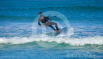 CORRALEJO, SPAIN - APRIL 28: Kitesurfer Editorial Stock Photo