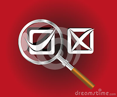 Correct and Wrong check box with magnifier