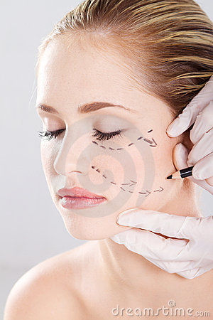Correction lines on woman face
