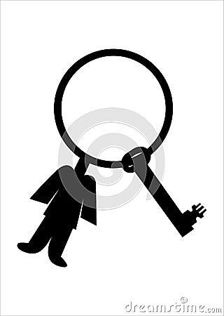 Corrente chave e homem