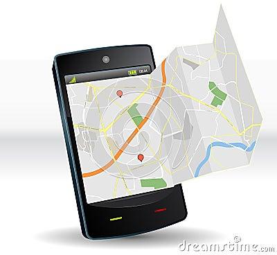 Correspondencia de calle en el dispositivo móvil de Smartphone