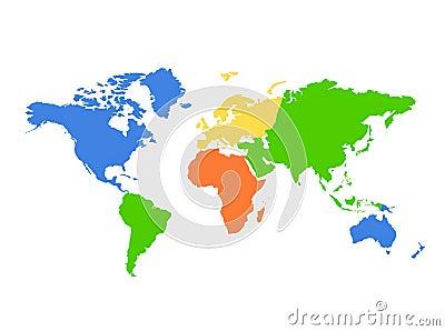 Correspondencia de mundo de los continentes - colorida