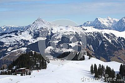 Corrida de esquí, Austria.