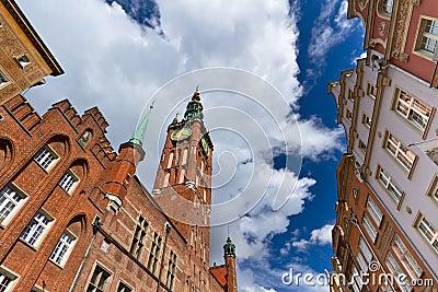 Corridoio di città nella vecchia città di Danzica