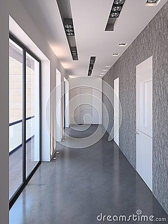 Corridoio moderno lungo immagine stock immagine 18748291 - Pittura corridoio moderno ...