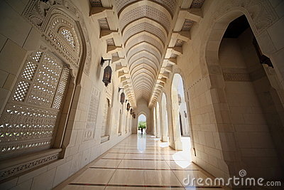 Corridor with arcs inside Grand Mosque in Oman