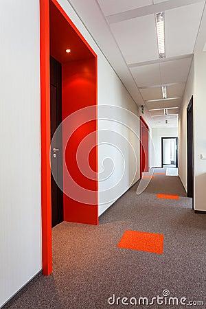 Corridor with colorful floor