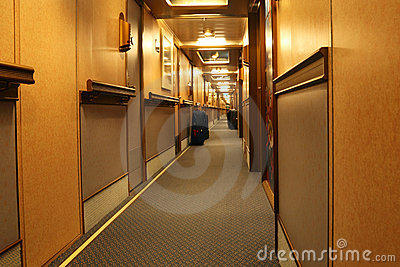 Corridor in cruise liner with doors to cabins
