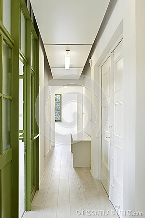 Corridor with glass door