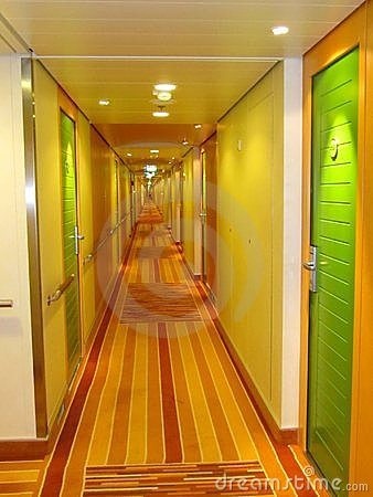 Corridor with green doors