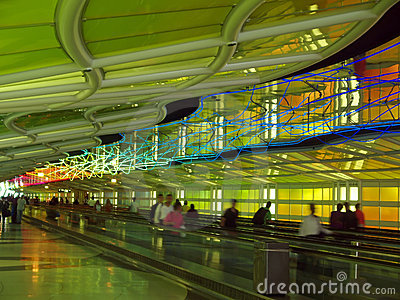 A corridor of a major airport