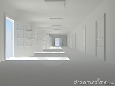 Corridor with open doors