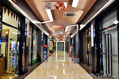 Corridor of a shopping centre Editorial Stock Image