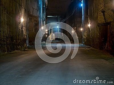 Corridor in the stone quarry.