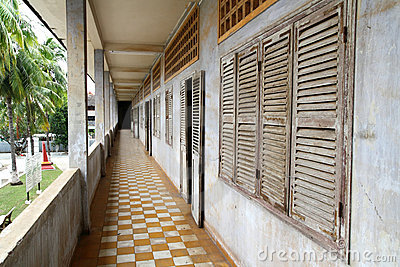 Corridor at Tuol Sleng Genocide Museum Editorial Image