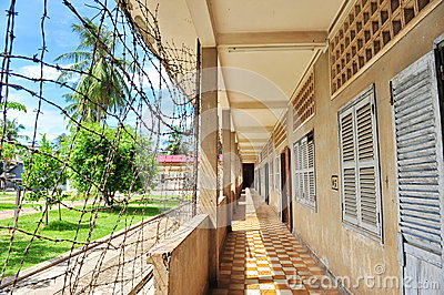 Corridor of Tuol Sleng Genocide Museum in Cambodia