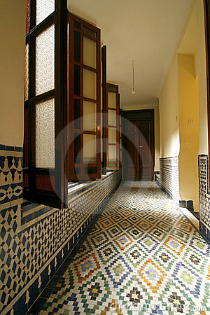 Corridor of a typical riad (guesthouse). Morocco