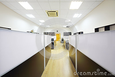 Corridor and working areas with desktops