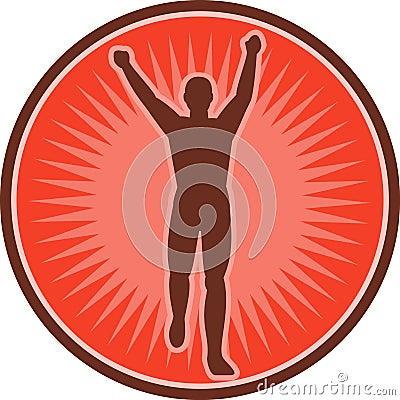 Corridore di maratona che celebra vittoria