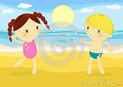 Corrispondenza di beachvolley dei bambini