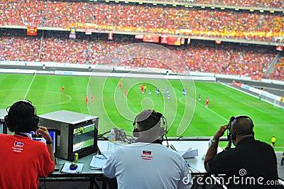 Corrispondenza di gioco del calcio di Liverpool e della Malesia Fotografia Editoriale
