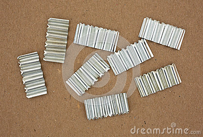 Corrugated Joint Fasteners On Cardboard Stock Photo
