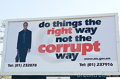 Corruption  widely publicised campaign, Zambia Editorial Stock Image