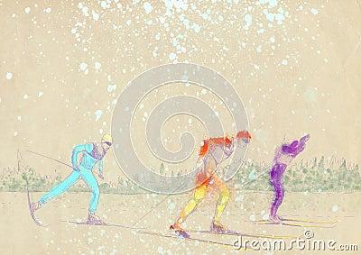 Corsa con gli sci del paese trasversale