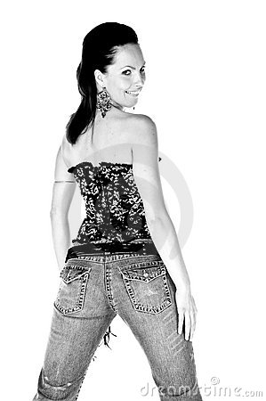 Free Corset And Tight Blue Jeans Stock Image - 5035331