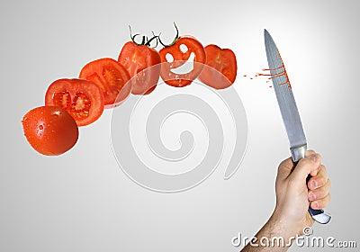 Corte do tomate