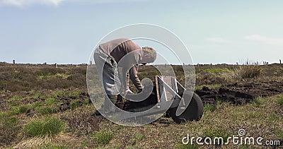 Corte e turfa apropriada do relvado com uma pá em Moss Bog na Irlanda filme