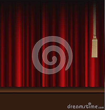 Cortinas rojas a la etapa del teatro