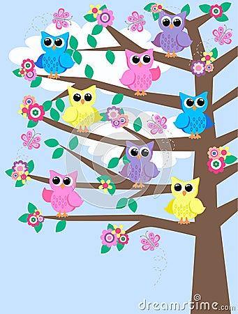 Corujas coloridas em uma árvore