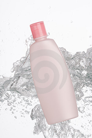 Cosmetic bottle with splash