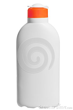 Cosmetic bottle in white on white background