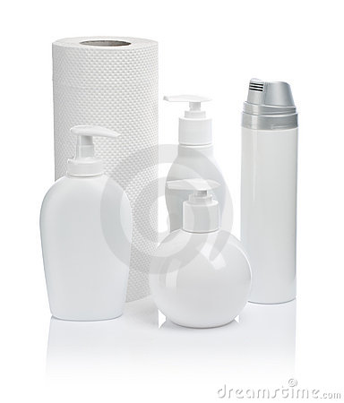 Cosmetic bottles paper towels
