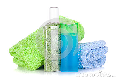 Cosmetic bottles with towels