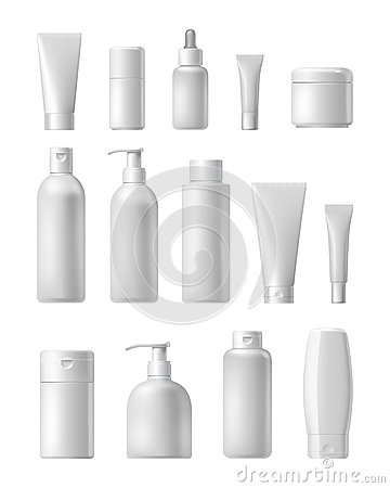 Free Cosmetic Brand Template. Realistic Bottle Set. Royalty Free Stock Image - 70539466